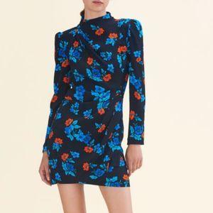 Maje Ripita Black Floral Print Dress Large NWTs
